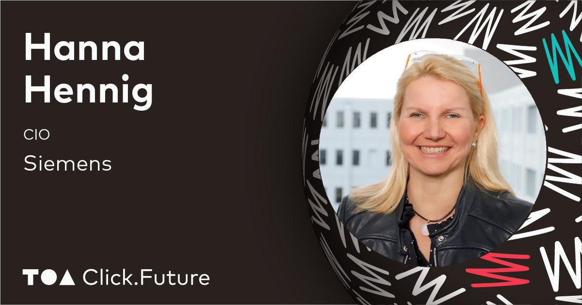 Meet @Hennig_H, TOA Click.Future speaker! Hanna is a passionate technologist who drives @Siemens' digital transformation as a Chief Information Officer. She will talk about bringing a 173-years-old company into a more agile and innovative future. Join us! https://t.co/nx5cX7jSgC https://t.co/US352I2i3a
