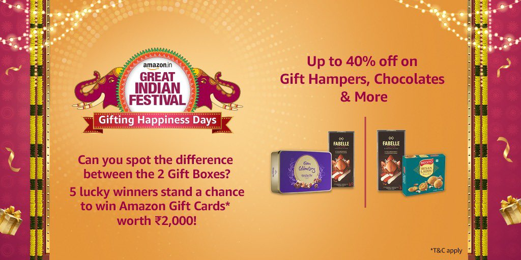Spot the difference between the two gift boxes and you can win Amazon Gift Cards worth 2K! Tag @amazonIN, use #AmazonGiftingHappinessDays.  T&C: https://t.co/zQMgslraES  #ContestAlert #AmazonGreatIndianFestival #Sale #Shopping https://t.co/cx9mxiQpKz