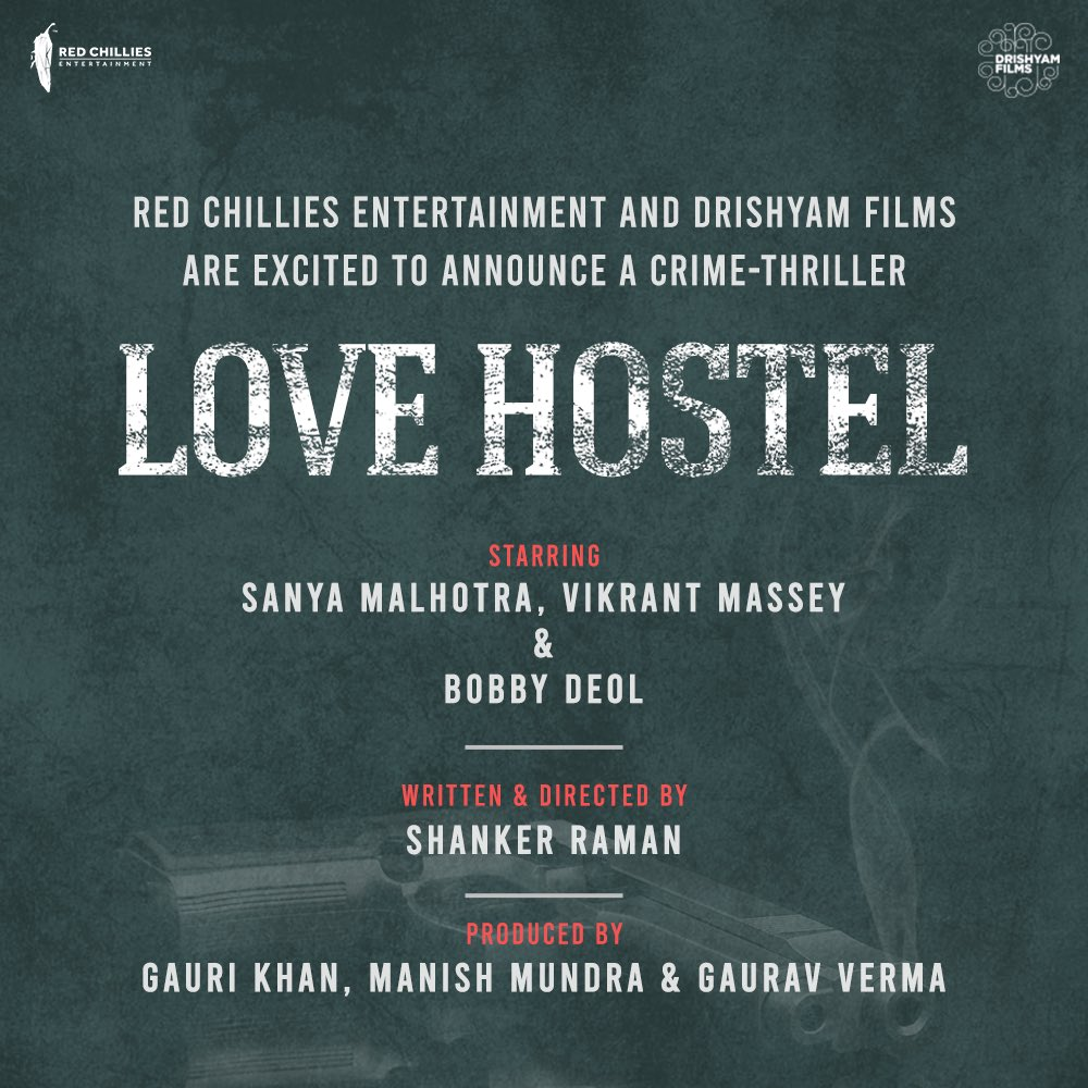 All set to step into the new world with, #LoveHostel, a crime-thriller by @RedChilliesEnt & @DrishyamFilms!  Also starring @sanyamalhotra07 and @masseysahib.  Directed by @iamshankerraman and produced by @gaurikhan, @ManMundra & @_GauravVerma.