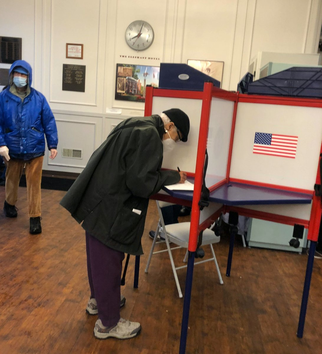 My 92 year old mother, a first-generation mainland-born Puerto Rican, cast her ballot Wednesday morning, minutes after her voting center opened.  [Photo by son-in-law Rich Vosburgh]