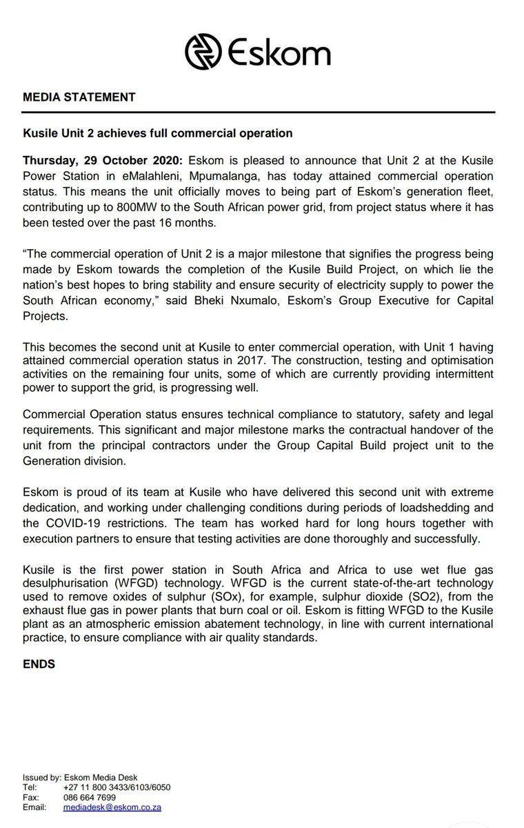 #Eskom #MediaStatement  Kusile Unit 2 achieves full commercial operation https://t.co/181Pegu86I