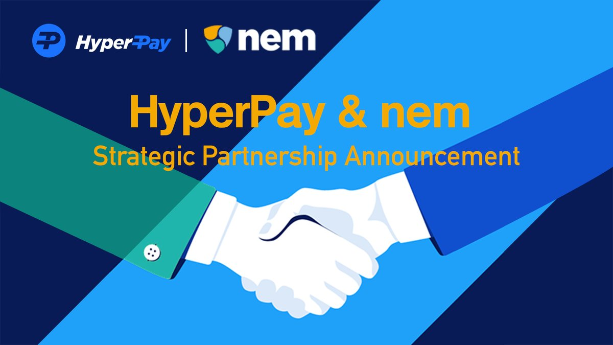 Recently, #HyperPay and @NEMofficial have reached a strategic cooperation. 🥳Please follow the two parties' News for new cooperation progress!😃 https://t.co/vskqflZtNt