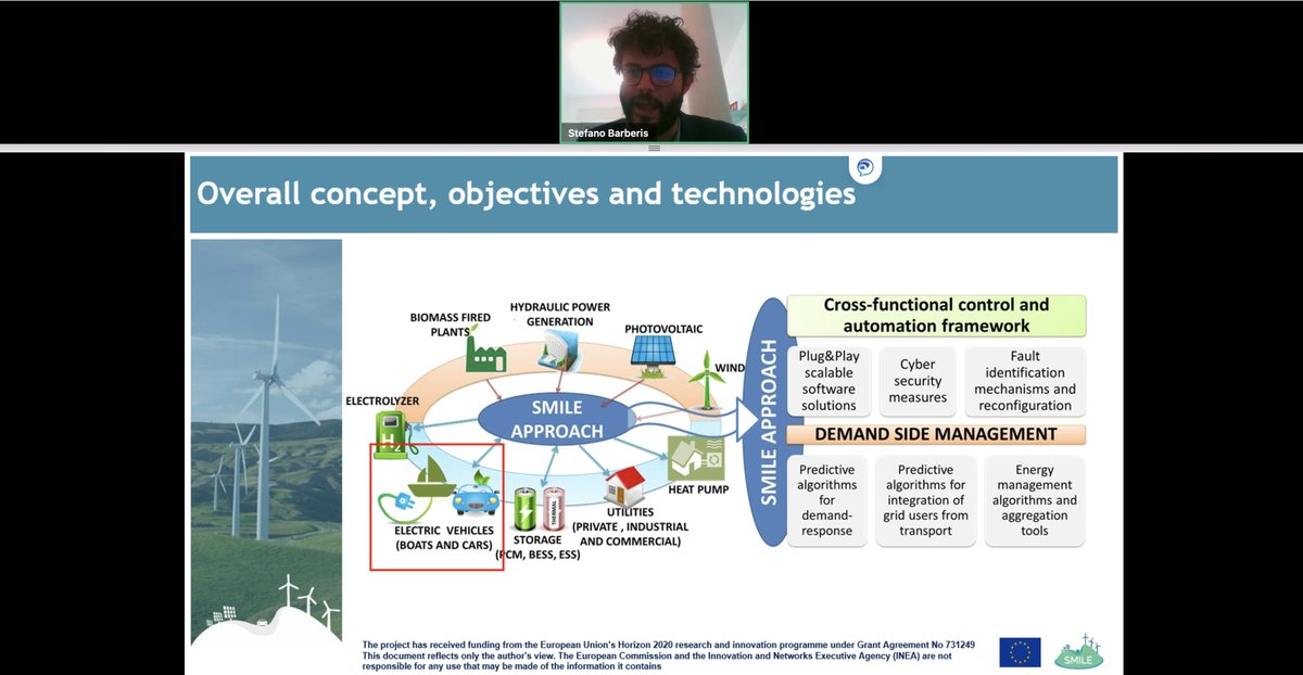 And now we are back to, Stefano Barberis, this time presenting the innovations proposed by  @H2020SMILE, the pilots and technologies will all be connected to  #smart energy management system.