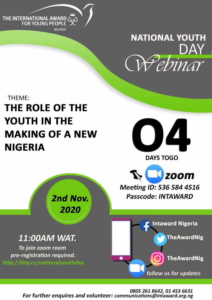 Meeting ID: 536 584 4516 Passcode: INTAWARD  Spread the word..... it's now or never.  #TheAwardNig #NationalYouthDAy #NewNigeria #Worldready #Youth #Celebrate  #Solution #Issues https://t.co/klCzmYASUU