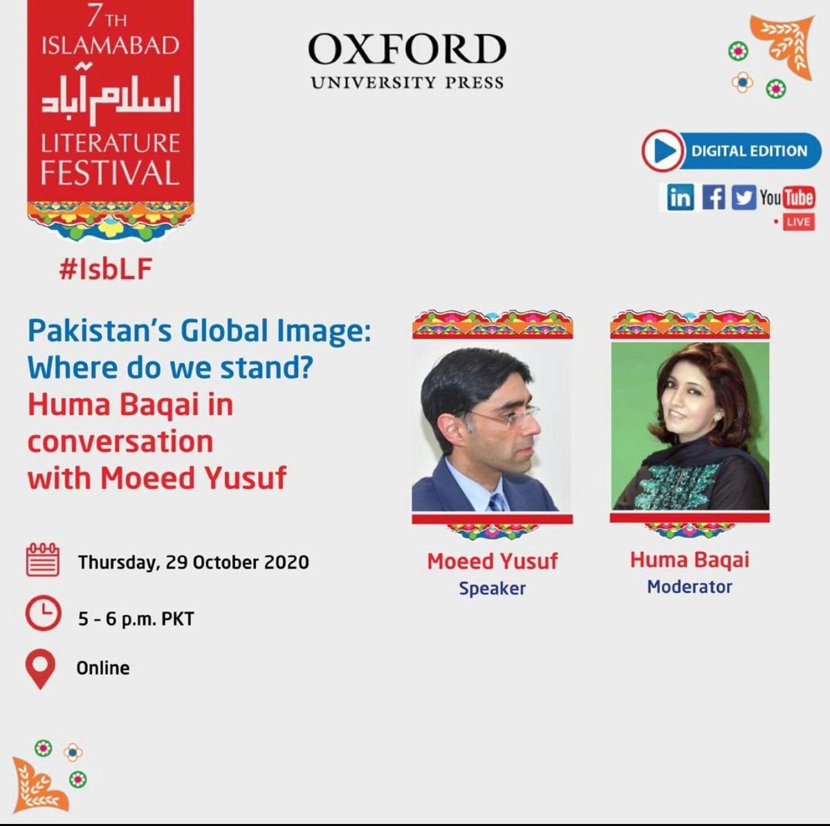 Hear hear today's sessions in #IsbLF2020  Watch it on Twitter: https://t.co/cOXHNC6wLW  #IsbLF #IslamabadLiteratureFestival  @KhiIsbLitFests https://t.co/yATr2hbNbJ