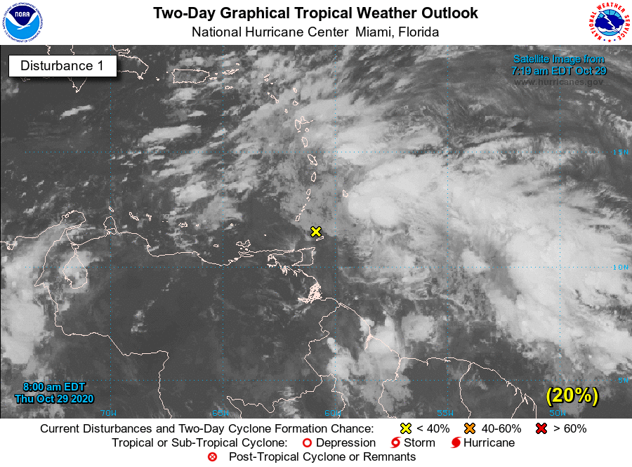 A weather disturbance moving across the Lesser Antilles is forecast to gradually develop over the next few days, and a tropical depression could form this weekend or early next week while it moves westward over the central and western Caribbean Sea. nhc.noaa.gov/gtwo.php?basin…