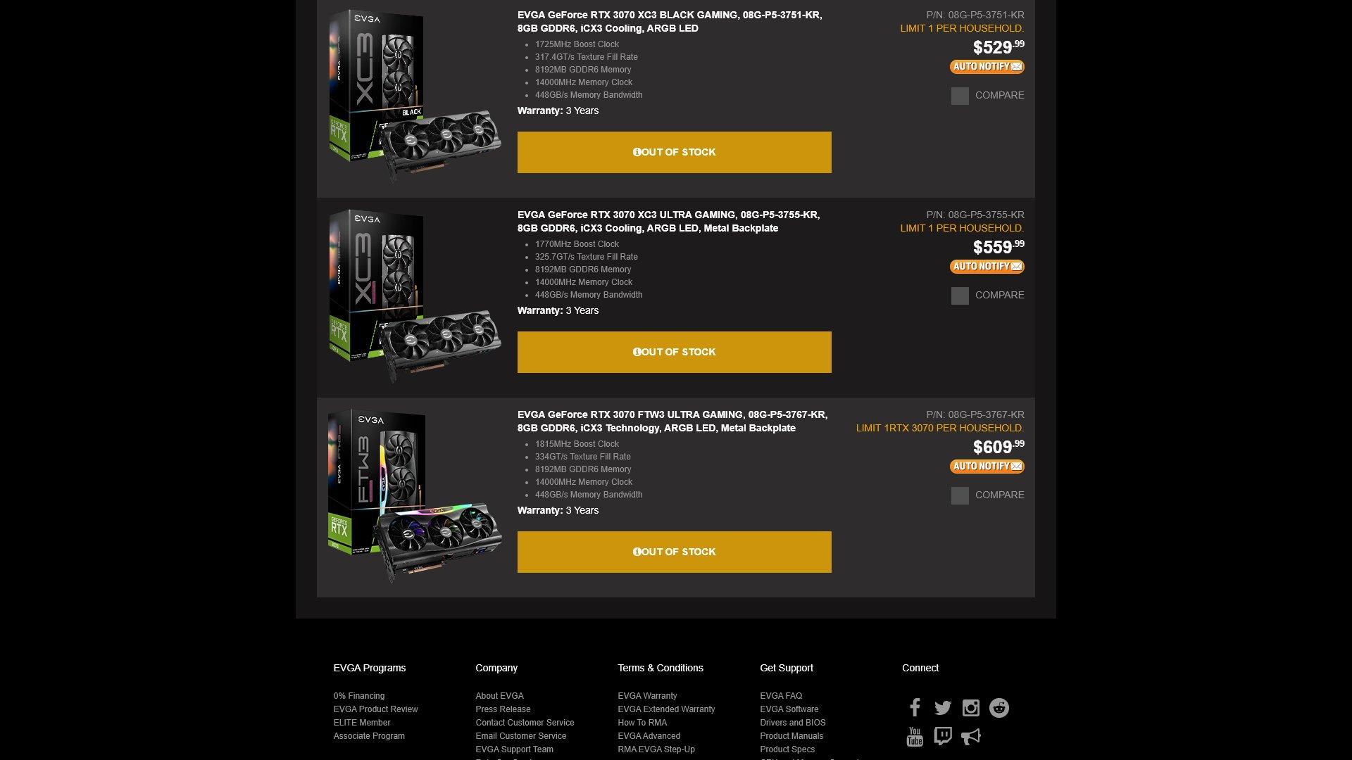 iCX3 Cooling 8GB GDDR6 ARGB LED EVGA GeForce RTX 3070 XC3 Black Gaming 08G-P5-3751-KR