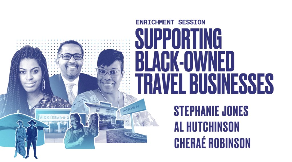 It's the final day of Brand USA Travel Week 2020! We're looking forward to hearing from Cheraé Robinson, @TstmkrsAfrica; Stephanie Jones, @blacksintourism & Al Hutchinson, @BaltimoreMD on supporting Black-owned travel businesses. #BrandUSAGlobalMarketplace https://t.co/fz1KZS9rjC