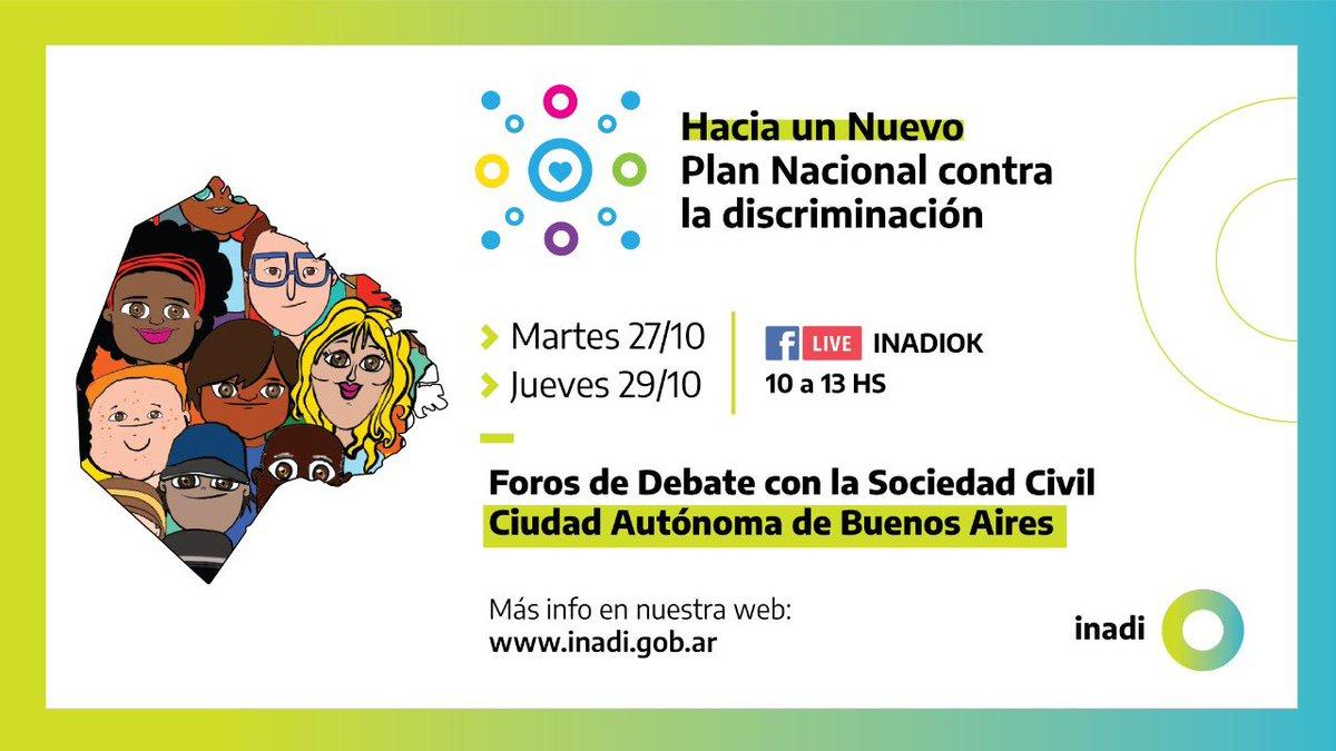 📢 AHORA - Comienza el segundo Foro de debate región Ciudad de Buenos Aires - Hacia un nuevo Plan Nacional contra la Discriminación 🗣️ con la participación de las organizaciones de la sociedad civil.  📲💻 Seguilo en vivo desde nuestro Facebook 👉🏼 https://t.co/wFkB8YgAtp https://t.co/Fi5Sx5SpJc