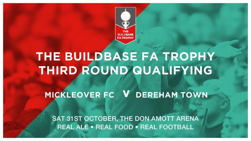 Come and support @MickleoverSFC on Sat 31 October when they face @DerehamTown in the Third Round of the The #FATrophy! 3pm kick off at The Don Amott Arena. Cheer on the #team and enjoy real #ale and #food! https://t.co/Va0L19Z4RM