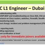 Image for the Tweet beginning: #immediatehiring for NOC L1 Engineer