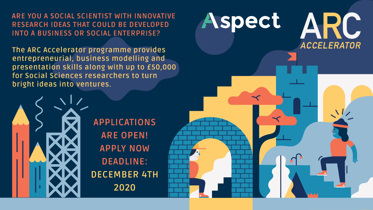 Are you a social scientist with a research idea that might have business potential? The Aspect Research Commercialisation (ARC) Accelerator is now open for applications! Deadline: Friday 4 December 👉 https://t.co/0fgwGO0ZKl https://t.co/JCFjFNzO2r