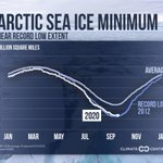 Image for the Tweet beginning: The 2020 Arctic sea ice