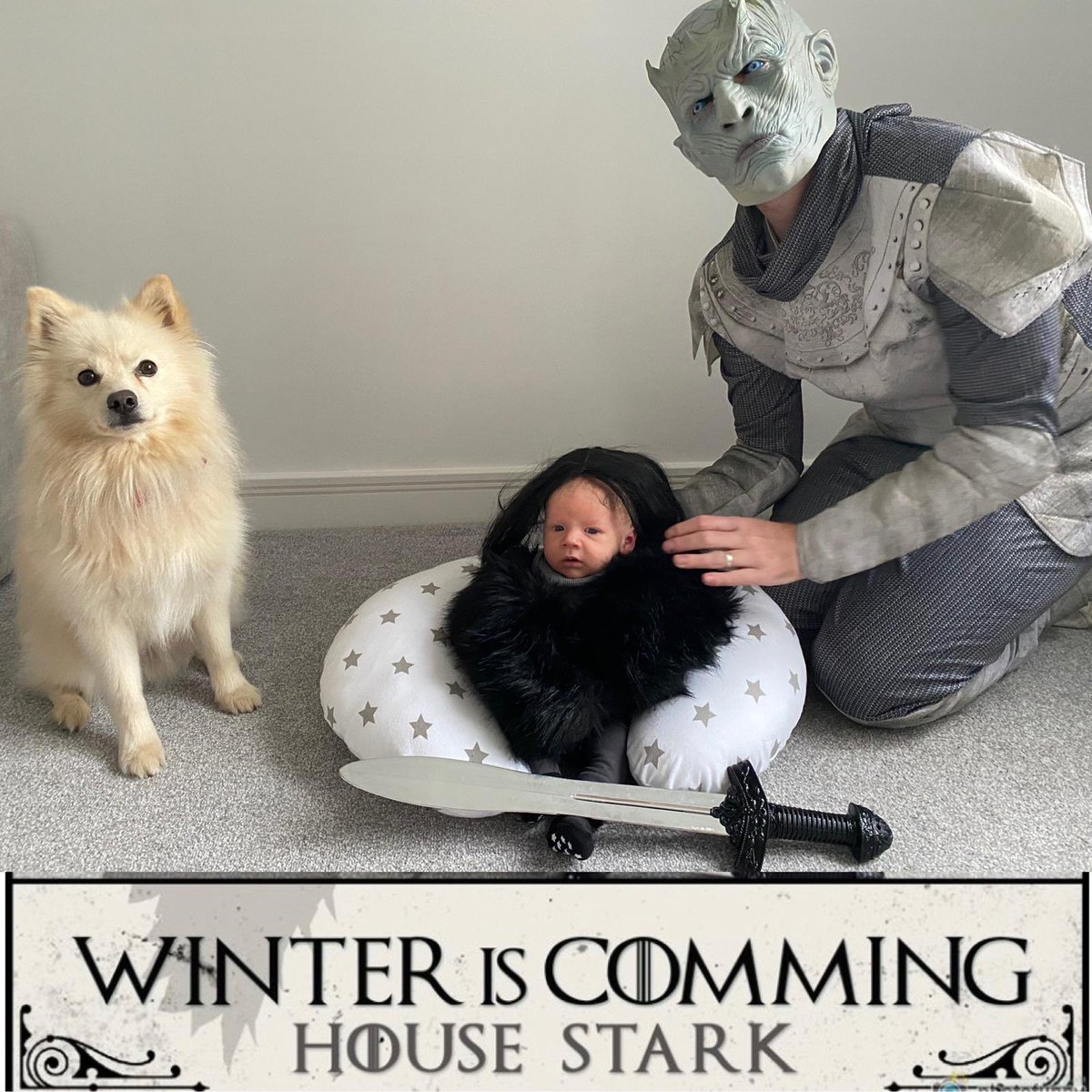 Morning well spent 😂 our little @GameOfThrones halloween picture ❄️🐉 #HappyHalloween #halloween #jonsnow #ghost #nightking #GoT #GameOfThrones https://t.co/plfYoferuc
