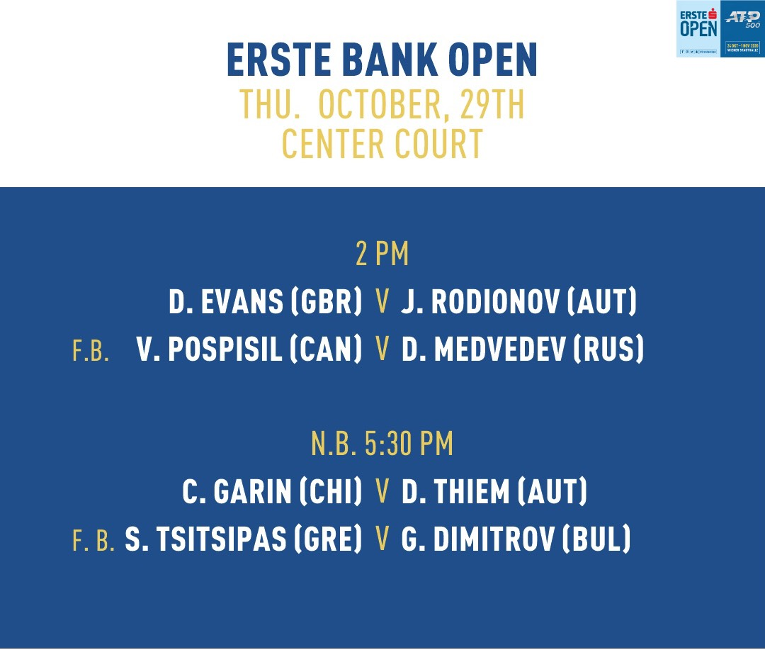 Today's matches on Center Court! #ErsteBankOpen https://t.co/isRFsGkTAv