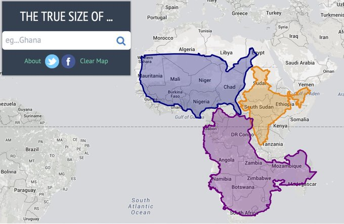 This interactive map lets you compare the actual size of countries https://t.co/ITMAKHIljA https://t.co/ovWU1LnPQH
