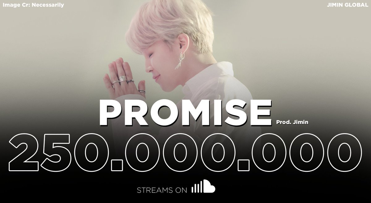 Promise has surpassed our goal of 250M streams on SoundCloud!  It sets new records as the 1st and only Korean, Asian, non-American and non-English language song to ever achieve this feat, and remains as the 2nd most streamed song on SoundCloud history.  Congratulations #Jimin!👏 https://t.co/YKERLDsq8J