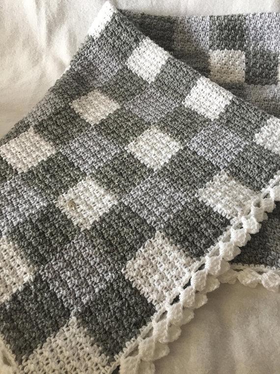 Grey and White Gingham https://t.co/wg6sQaotoa via @EtsySocial #TrixieBlues #Etsy #crochetbabyblanket #throw https://t.co/VK9STLURWw