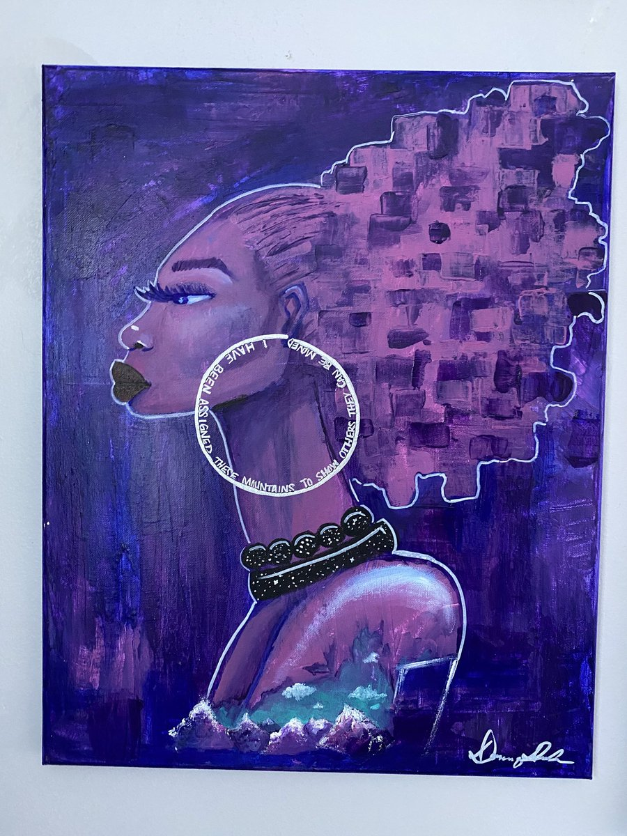 """Excited to share my favorite piece from my #etsy shop: """"Moving Mountains"""" #blackart #naturalhair #afroart https://t.co/na9rYktoZR https://t.co/wPzx0bqSc3"""