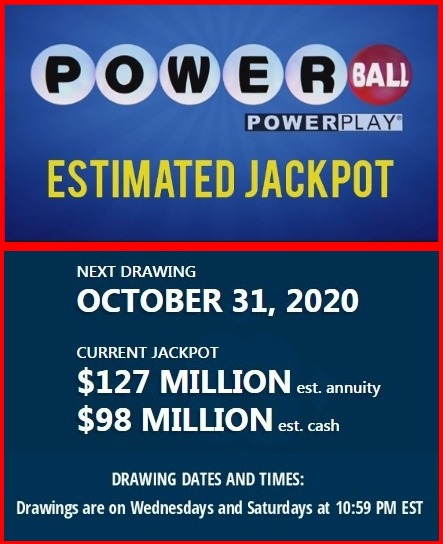 Estimated Jackpot for the October 31, 2020 Powerball drawing  #Powerball #PowerballWinningNumbers #PowerballNumbers #lottery #jackpot #lotto #books #ebooks #Amazon #AmazonBooks #AmazonKindle #Kindle #KindleBooks #KindleUnlimited #KindleOwnersLendingLibrary #KindleLendingLibrary https://t.co/wKrWCpEOFV