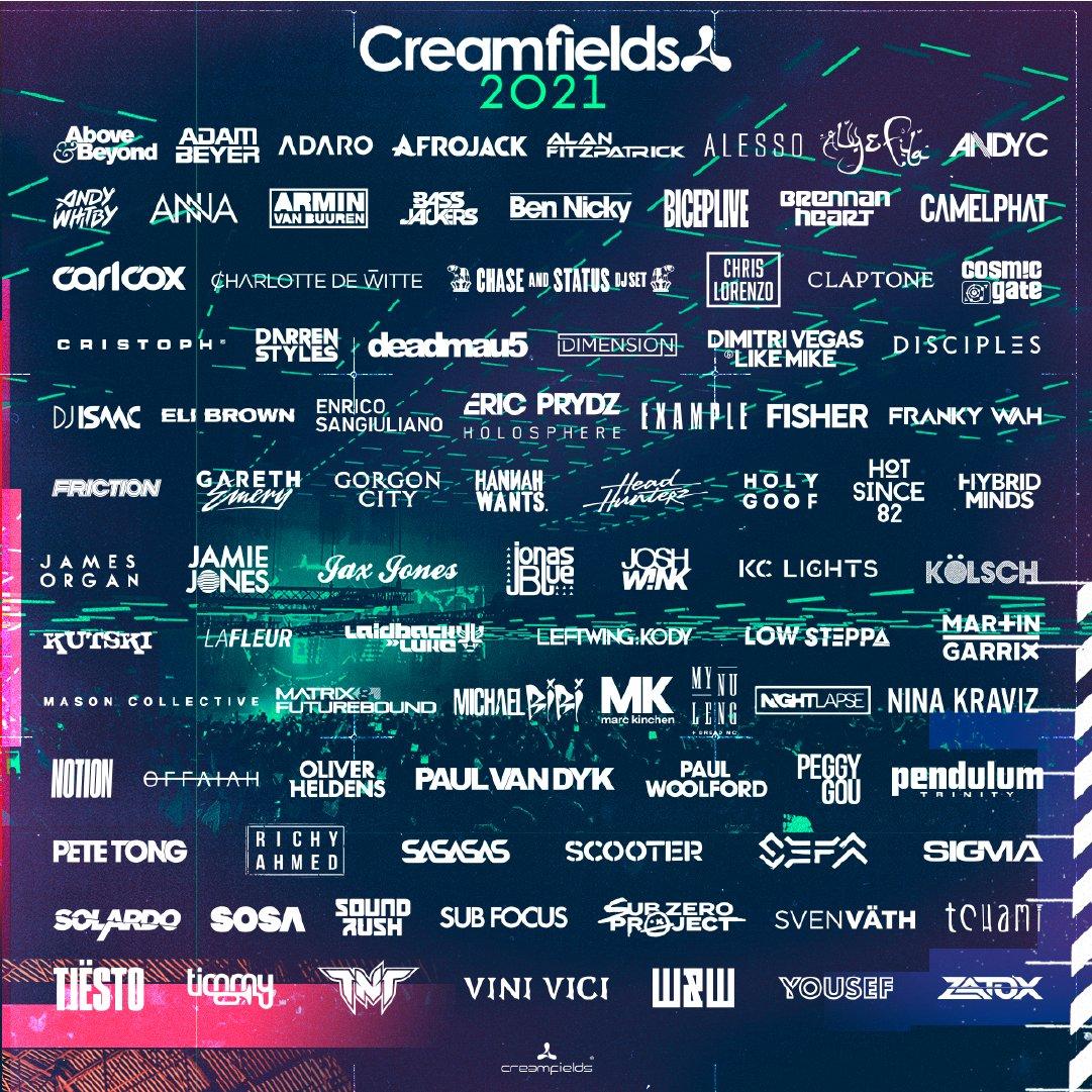 Creamfields lineup 2021