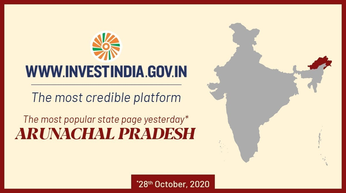 Arunachal Pradesh was the most popular state page yesterday on @investindia's website - the most credible platform for investment information.   To explore more about this state, visit https://t.co/nYShiOEWgF NOW!   #NewIndia #InvestInIndia https://t.co/D9ru1hXkWQ