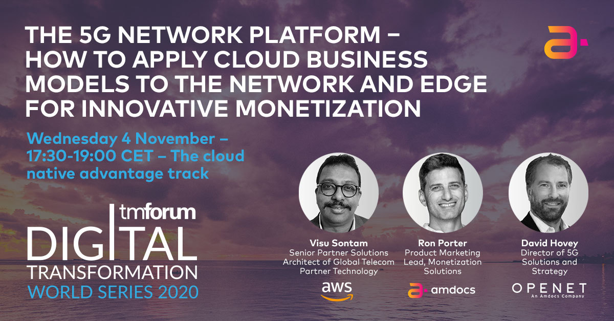Join Viswanadha (Visu) Sontam, Ron Porter, and David Hovey on Nov 4 at #TMFDigital2020 on how to leverage a distributed, #hybridcloud and edge environment to drive #innovation and efficiency. https://t.co/EG5A6QhAa5  @Openet @AWS #5G #monetization https://t.co/Jdrj1kk9K7