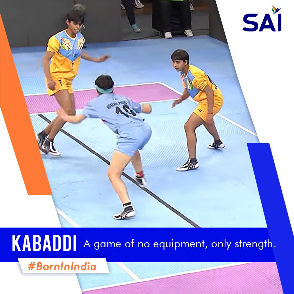 #Kabbadi is one of those games in India which does not require any equipment to play. It's played between two teams and all one has to do is touch the opposite team's players while holding the breath and scoring points. #BornInIndia @KirenRijiju @DGSAI @RijijuOffice @PIB_India