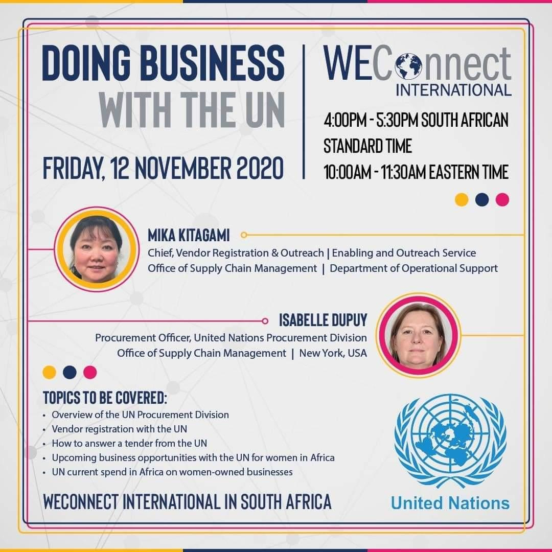 test Twitter Media - Opportunities for women to do business with the United Nations exist. WEConnect International in South Africa hereby invites women-owned businesses to a webinar where they will learn how to do business with the UN. Register for the webinar today: https://t.co/eJ1DVs2tQN https://t.co/b9a29JzziI