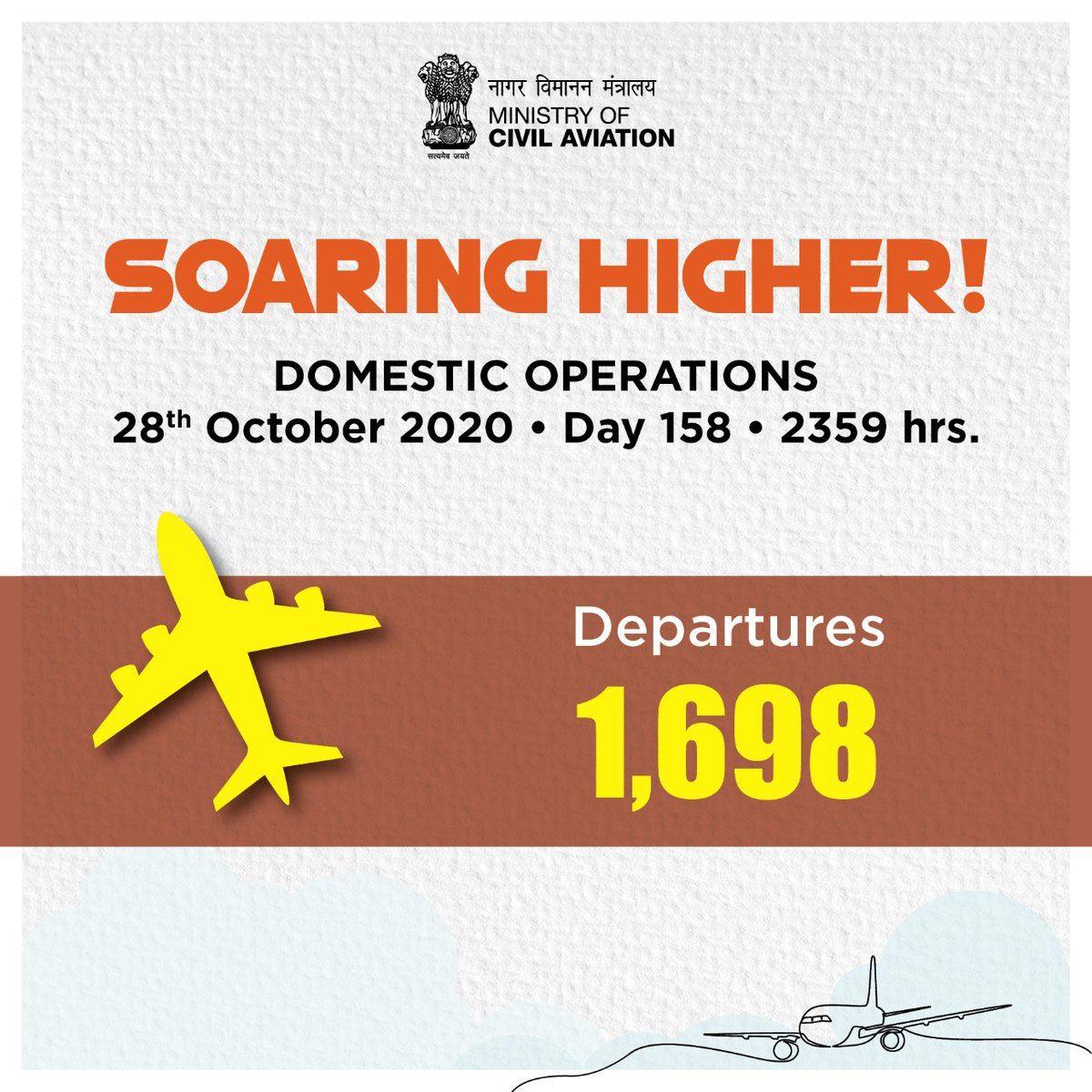India soaring higher!  1698 flight departures took place across the country on 28th October. Aviation operations continue to soar! #SabUdenSabJuden #IndiaFliesHigh https://t.co/kJ8albn3HI