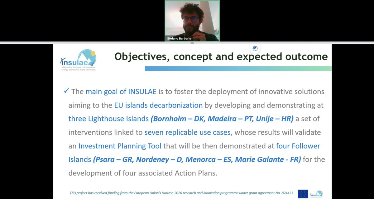 Now, Stefano Barberis, is sharing the objectives of  @INSULAE_H2020…