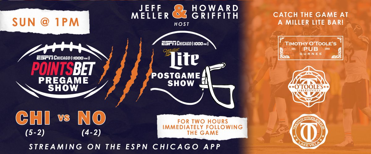 Here's your upcoming #SundayFunday schedule!  🏈The Fantasy Football Show with @Jeff_Meller @ 8a 🏈 ESPN Chicago @PointsBetIL Pregame Show @ 1p. 🏈ESPN Chicago @MillerLite Postgame Show with  @Jeff_Meller + 2x Super Bowl Champ  @HowardGriffith for 2 hrs following the game https://t.co/jJu4unOIUS