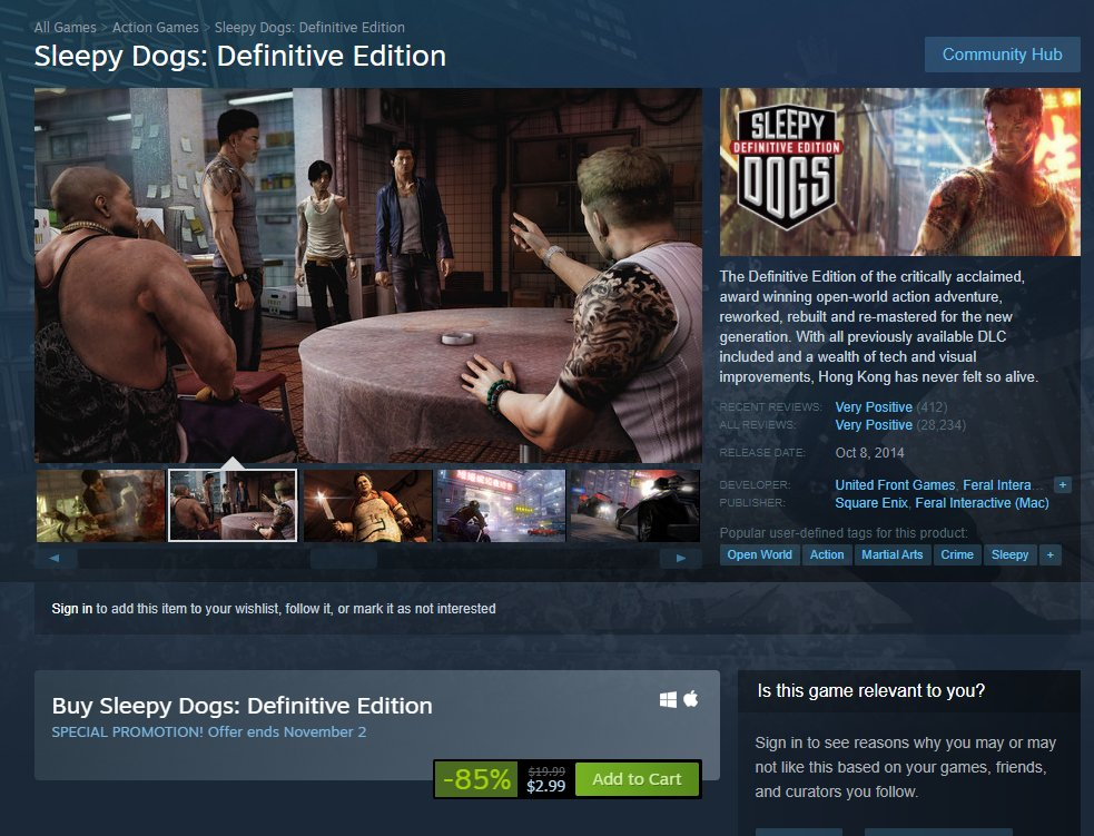 Sleepy Dogs: Definitive Edition is $2.99 on Steam 2