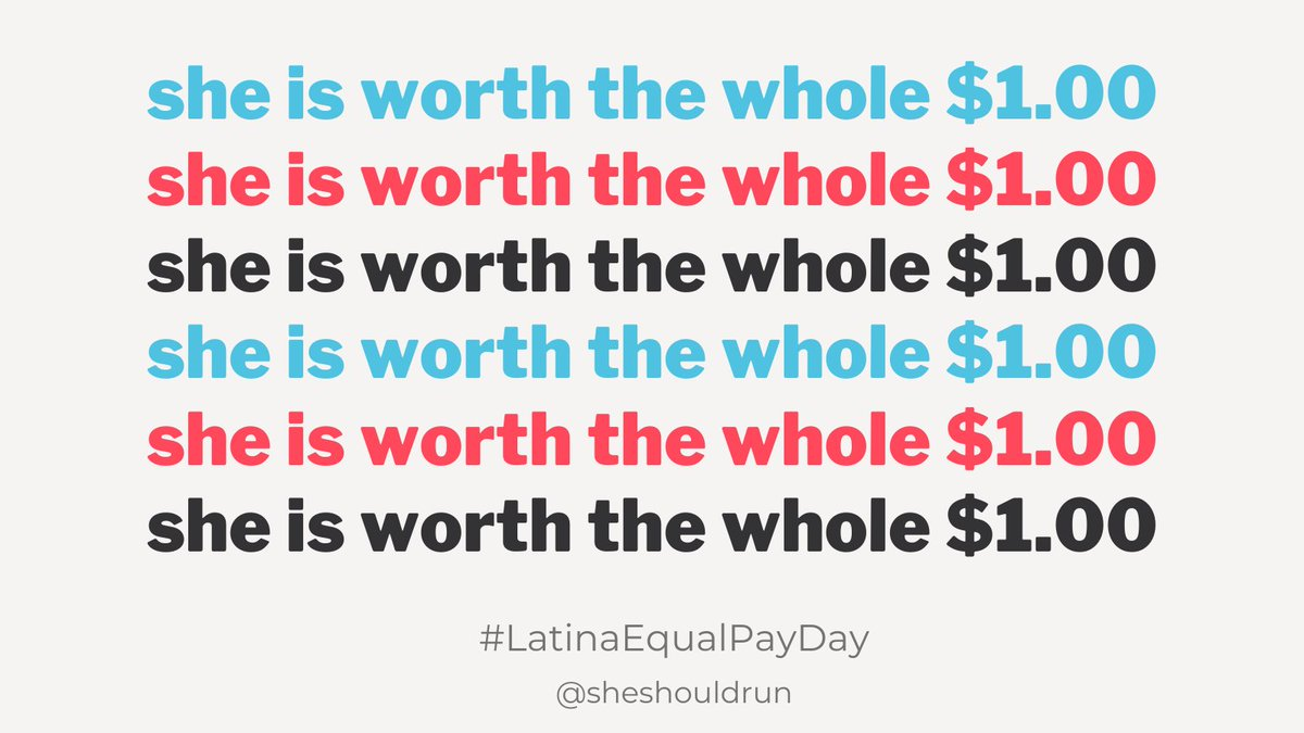 More than 50 years after the passage of the Equal Pay Act of 1963, Latinas typically earn only 55 cents for every dollar earned by White men 🤦🏽‍♀️, meaning they must work nearly 23 months to earn what White men earned in 2019. #LatinaEqualPayDay