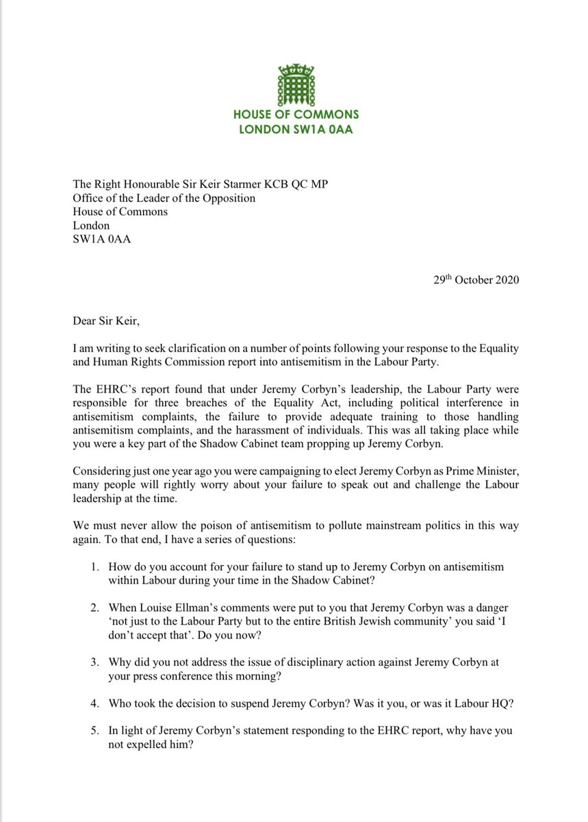 All of us should be concerned about what has happened in the Labour Party in recent years. And today's EHRC report underlines that. There are still important questions for Keir Starmer and so I have written to him seeking answers.
