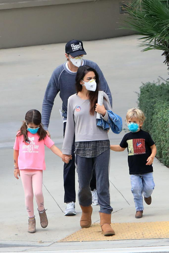 """Kunis Kutcher Fan on Twitter: """"Mila and Ashton and their kids spotted after  AK and MK voted the other day… """""""