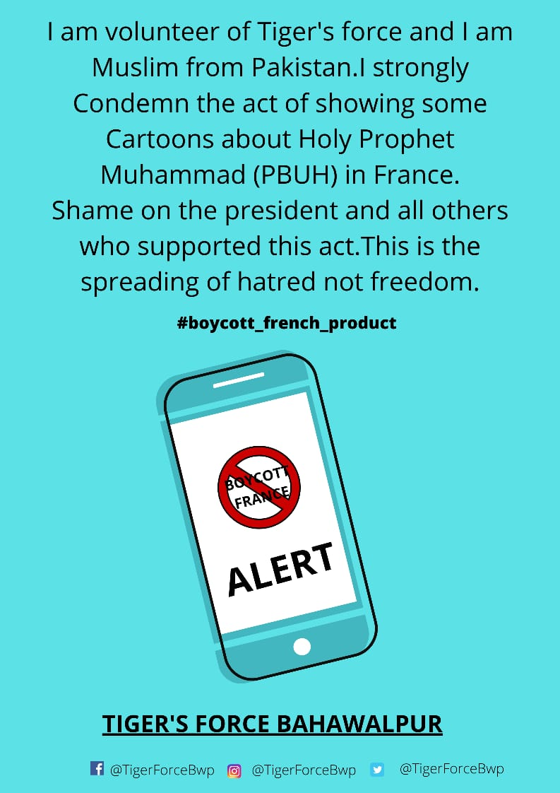 RT @TigerForceBwp: #TFBahawalpur  #PakistanZindabad #Boycott_French_Products  @UdarOfficial @ImranKhanPTI https://t.co/VUJTrp7QQw
