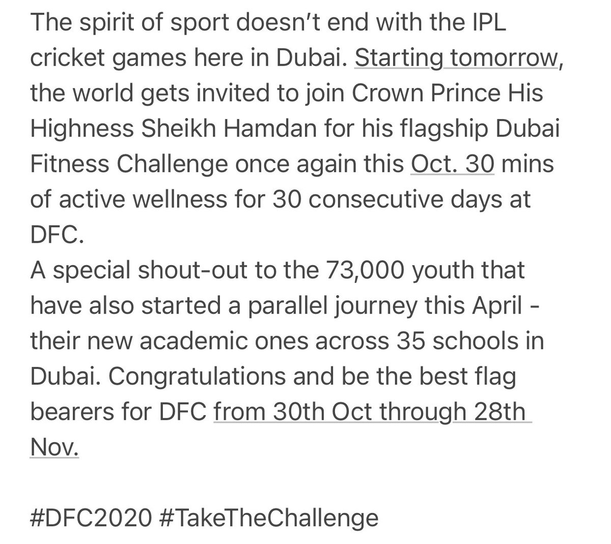 #DFC2020 #TakeTheChallenge