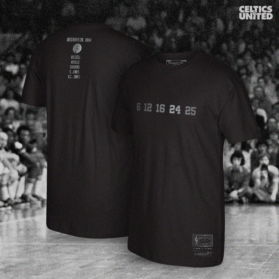 𝟔 · 𝟏𝟐 · 𝟏𝟔 · 𝟐𝟒 · 𝟐𝟓  On December 26th, 1964, the first all-black starting 5 took the court in the @NBA. Today, we honor that team with the commemorative Starting 5 Tee.  Proceeds benefit the Celtics United Social Justice Initiative: https://t.co/dZsBCFf2u0 https://t.co/asPqttDTvf