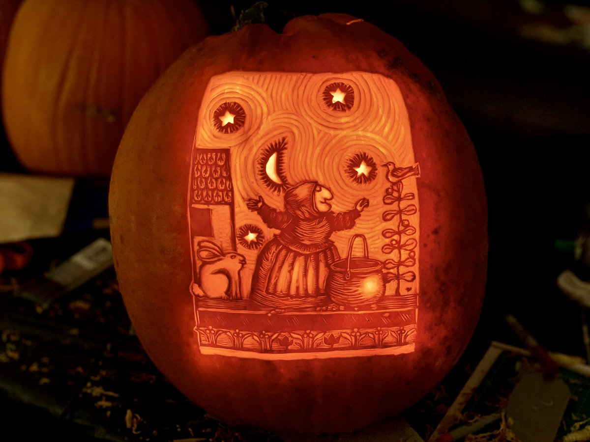 """My 2020 Pumpkin! """"Strega Nona"""", in honor of Tomie dePaola, who died March 30th 2020 at age 85. (Also shown are my two previous classic children's book illustration pumpkins: """"Where the wild Things Are"""" and """"Ferdinand the Bull"""") @scbwi #pumpkincarving #pathart"""