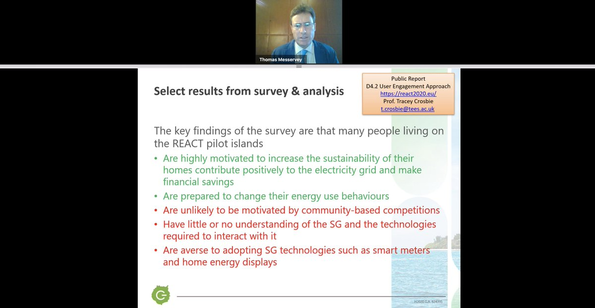 """@TomMesservey has presented the second half of REACT's appearance, with a more """"pessimistic"""" (quoting his Dr. Jekyll and Mr. Hyde analogy) approach: the real challenges of getting the communities involved in  #renewables and the key findings after conducting surveys in the pilots!"""