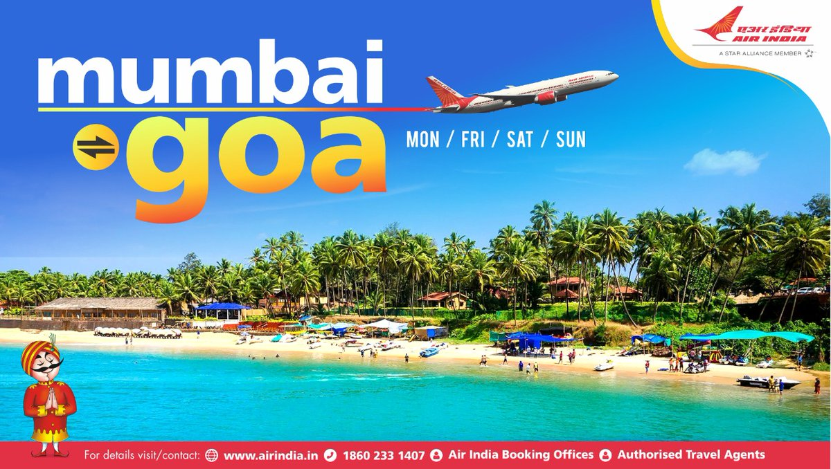 #FlyAI : Now fly direct between Mumbai and Goa four days a week. To book seats, please visit our website https://t.co/ZcNAjqXY5X https://t.co/OO9s3vtoLF