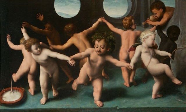 The Infant Bacchus, Cupid, and Putti by Parmigianino, mid-1600s. Dimensions: 52 x 85.5 cm. Medium: Oil on panel. #LOONA #이달의소녀 @loonatheworld #EKP_bestfemalechoreo_LOONA #EKP_bestfemalegroup_LOONA