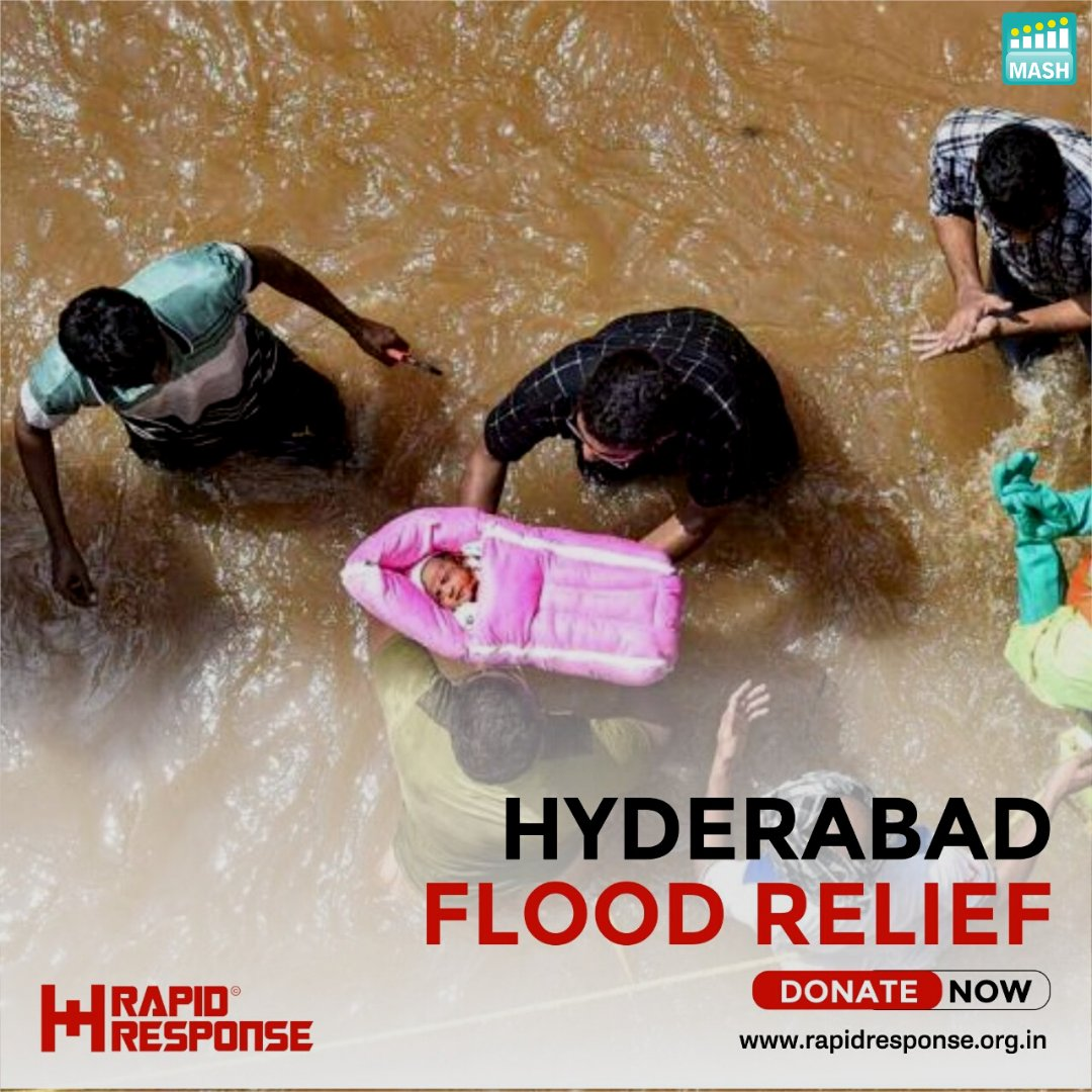 @MASH_Project is supporting @RapidResponse in coming forward and help the Hyderabad flood victims. Your generous donations can help them out and make an impact.  You extending a helping hand can save a life.  Donate now here: