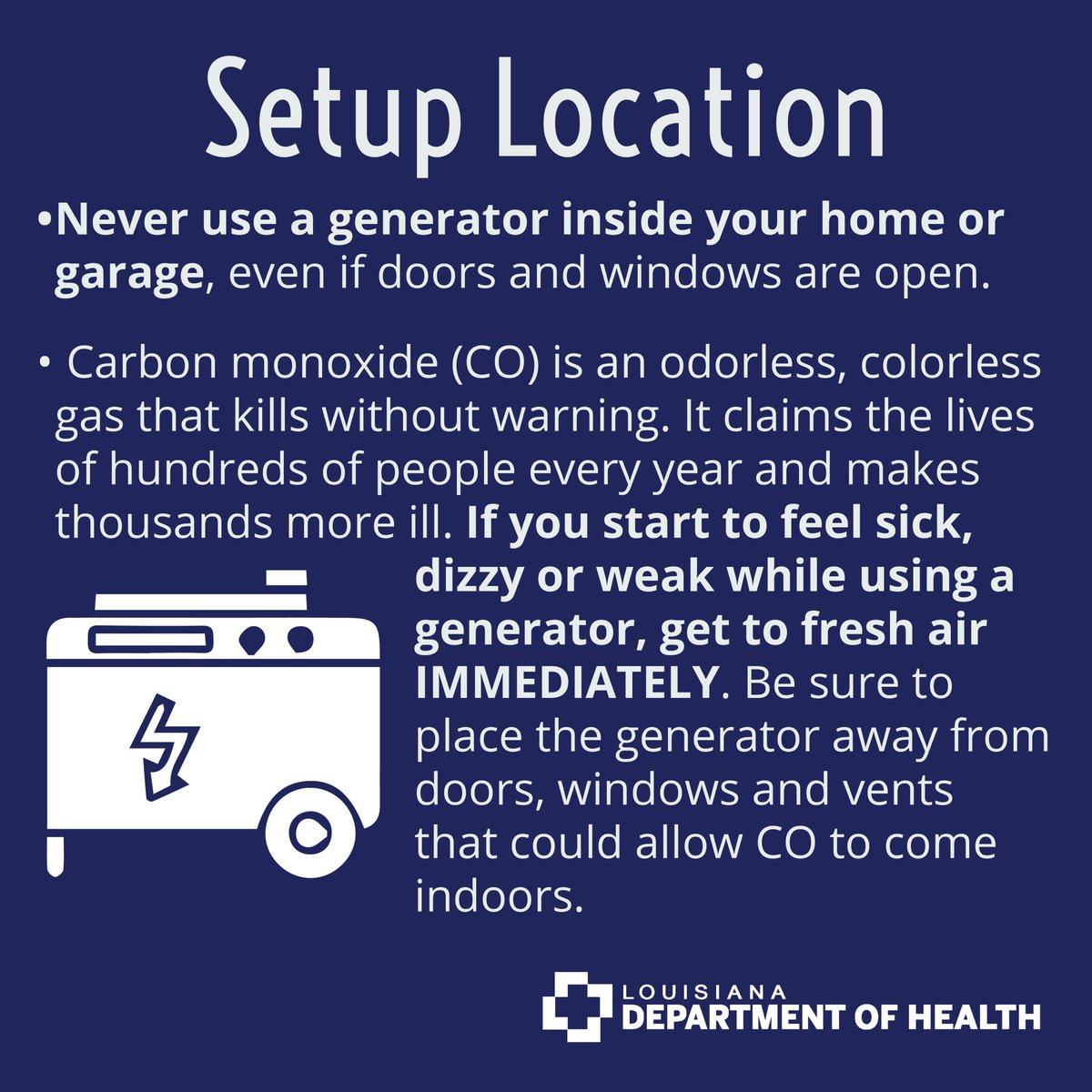 Hurricane Zeta has caused power outages around the state meaning many people are using generators to power their homes. Please remember to use them safely.