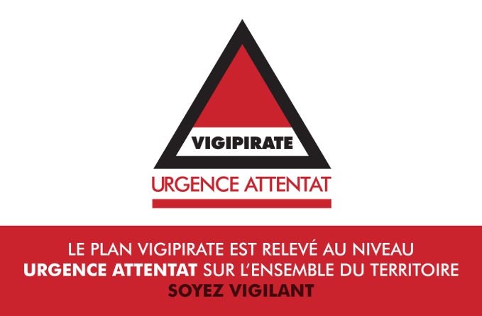 🔴 Le @gouvernementFR vient de porter le plan #Vigipirate au niveau urgence attentat sur tout le territoire.⚠️ Restez vigilants https://t.co/EqMI0NOtww