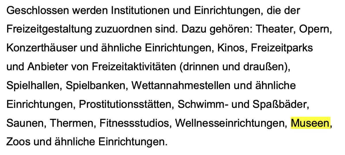 """""""Geschlossen werden […] #Theater […] Prostitutionsstätten, Schwimm- und Spaßbäder, Saunen, Thermen, Fitnessstudios, Wellnesseinrichtungen, #Museen, Zoos und ähnliche Einrichtungen."""" #Bayern #Corona  https://t.co/MFtOtxydn6 https://t.co/kwyB2sk2Hp"""
