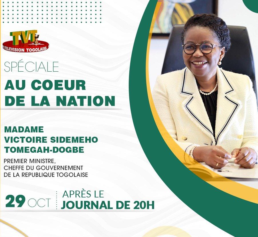 Suivez ce soir sur la TVT juste après le Journal de 20h, l'intervention de Mme le Premier Ministre @DogbeVictoire, sur la feuille de route 2020 - 2025. https://t.co/wLpMOCidJx