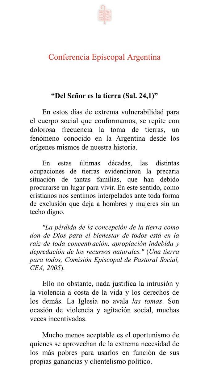 """AHORA. Fuerte mensaje de la Iglesia Católica Argentina: """"No avalamos la toma ilegal de tierras, es un delito"""". https://t.co/jC8WTUcF0A"""