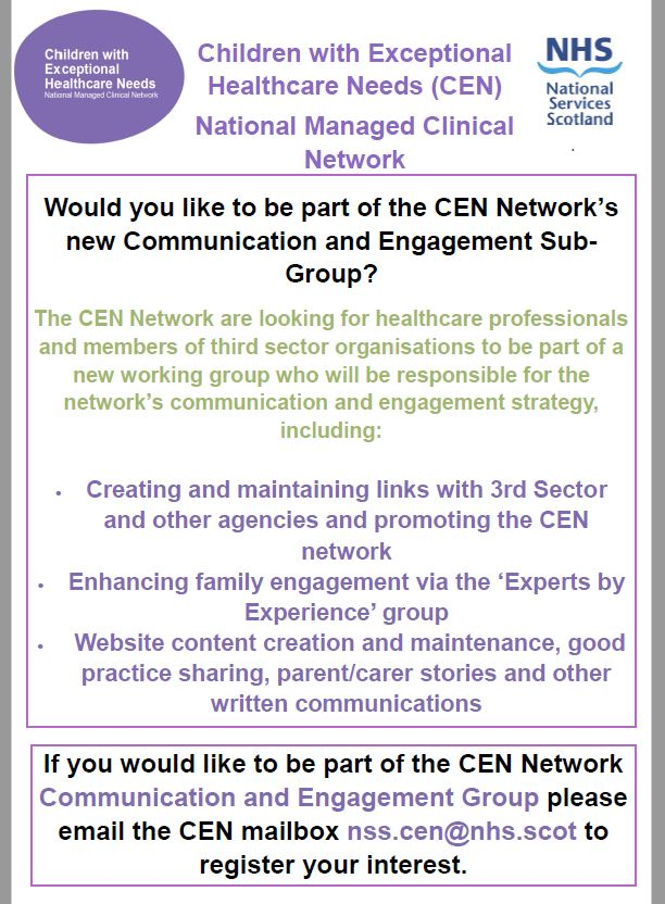 Our #Children with #Exceptional #Healthcare #Needs #Network (#CENScotland) #CommunicationsAndEngagementGroup will create an #ExpertsByExperience Forum and bring the #voices and #experience of #parents #carers #familymembers to the work of this national network.   Details attached https://t.co/ZMJdTsKSGK
